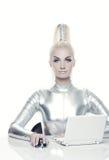 cyber jej laptopu kobiety działanie Obraz Stock