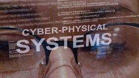 Cyber-körperliche Systeme simsen auf Hintergrund des weiblichen Entwicklers stock abbildung