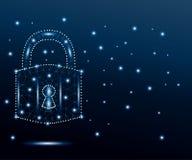 Cyber kłódka, wielobok, błękit, gra główna rolę 3 royalty ilustracja