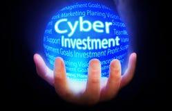 Cyber kuli ziemskiej tła Inwestorski błękit Obraz Stock