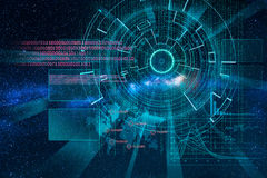 Cyber laser target on milky way background Stock Photo