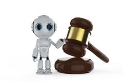 Cyber law concept. With 3d rendering mini robot with gavel judge vector illustration