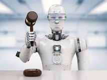 Cyber law concept. 3d rendering robot holding gavel judge Royalty Free Stock Photos