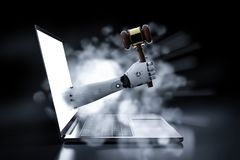 Cyber law concept. With 3d rendering robotic hand holding gavel judge out of notebook computer vector illustration