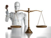 Cyber law or internet law concept. With 3d rendering ai robot with law scale and gavel judge