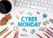 Cyber lundi, concept d'affaires blanc de Web de bureau de bureau d'homme d'affaires de furetage illustration stock