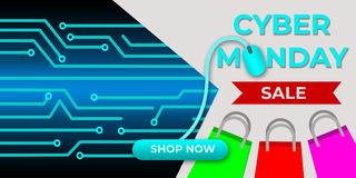Cyber måndag Sale, Black Friday Sale stock illustrationer