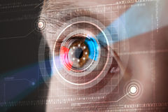 Cyber man with technolgy eye looking Stock Photo