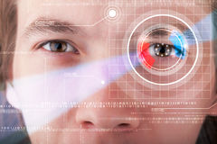 Cyber man with technolgy eye looking Stock Images
