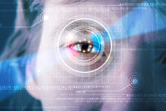 Cyber man with technolgy eye looking Royalty Free Stock Photos