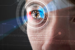 Cyber man with technolgy eye looking Stock Image