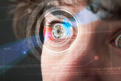 Cyber man with technolgy eye looking Stock Photography