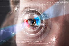 Cyber man with technolgy eye looking Royalty Free Stock Photography