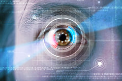 Cyber man with technolgy eye looking Stock Photos