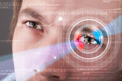 Cyber man with technolgy eye looking Royalty Free Stock Images