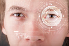 Cyber man with technolgy eye looking Royalty Free Stock Photo