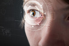 Cyber man with technolgy eye looking Royalty Free Stock Image