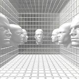 Cyber men robots head in room Stock Image