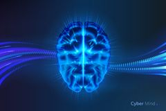 Cyber mind or artificial intelligence brain. Glowing cyber mind or shining artificial intelligence brain. Neural network or machine learning background stock illustration