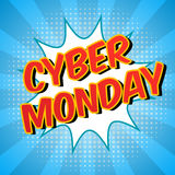 Cyber Monday background. Colorful digital promo text. Comic speech bubble with halftone effect. Sale, discount theme. Stock Images