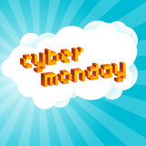 Cyber Monday background. Digital promo text in style of old 8-bit video games. Vibrant 3D Pixel Letters Royalty Free Stock Photography