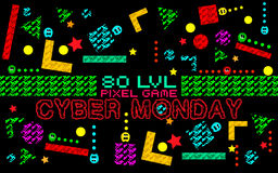 Cyber monday background. Set of funny pixel monsters. Retro video games icons Stock Photography