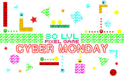 Cyber monday background. Set of funny pixel monsters. Retro video games icons Royalty Free Stock Photos