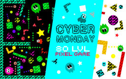 Cyber monday background. Set of funny pixel monsters. Retro video games icons. Game with space monsters . Vintage video game illustration stock illustration
