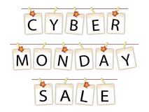 Cyber Monday Banner of Blank Photos with Maple Leaves Stock Images