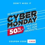 Cyber monday banner sale vector. 50% off online shop promo background template. Eps 10 stock illustration