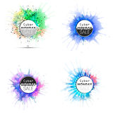 Cyber monday banners set, colorful style elements Royalty Free Stock Photo