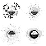 Cyber monday banners set, noir style elements. For your design, vector illustration Royalty Free Stock Photos