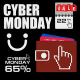 Cyber monday, Big Sale, creative template on flat design Royalty Free Stock Images