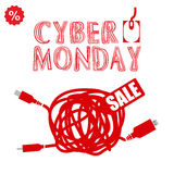 Cyber monday, Big Sale, creative template on flat design. Market, appliances, monday, display, merchandise, retail, red, business, sign, , symbol, internet Royalty Free Stock Photo
