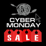 Cyber monday, Big Sale, creative template on flat design. Market, appliances, monday, display, merchandise, retail, red, business, sign, , symbol, internet Royalty Free Stock Photos