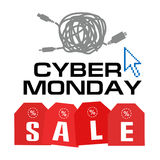 Cyber monday, Big Sale, creative template on flat design. Market, appliances, monday, display, merchandise, retail, red, business, sign, , symbol, internet Royalty Free Stock Images