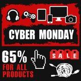 Cyber monday, Big Sale, creative template on flat design. Market, appliances, monday, display, merchandise, retail, red, business, sign, , symbol, internet Stock Photos