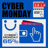 Cyber monday, Big Sale, creative template on flat design. Market, appliances, monday, display, merchandise, retail, red, business, sign, , symbol, internet Royalty Free Stock Image
