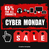 Cyber monday, Big Sale, creative template on flat design. Market, appliances, monday, display, merchandise, retail, red, business, sign, , symbol, internet Stock Photography