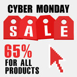 Cyber monday, Big Sale, creative template on flat design. Market, appliances, monday, display, merchandise, retail, red, business, sign, , symbol, internet Royalty Free Stock Photography