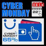 Cyber monday, Big Sale, creative template on flat design. Market, appliances, monday, display, merchandise, retail, red, business, sign, , symbol, internet Stock Images