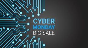 Cyber Monday Big Sale Poster Over Circuit Background With Copy Space. Cyber Monday Big Sale Poster Over Circuit Background, Special Discount For Technology Stock Photo