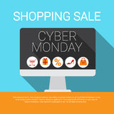 Cyber Monday Big Shopping Sale Banner Stock Photo