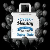 Cyber Monday Black Balloons Shopping Bag Percents Cover. Black balloons with percents and shopping bag for cyber monday on the dark background Stock Image