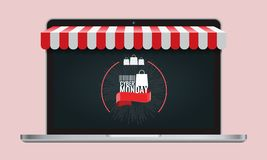 b94f1900b Vector Illustration. Cyber monday or black friday and Online store shopping  concept laptop screen with striped awning.