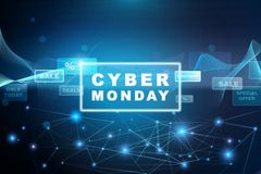 Cyber Monday - Blue Banner Stock Photo