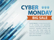 Cyber monday blue technology background with hologram line and text in vector. Royalty Free Stock Image