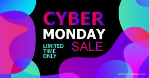 Cyber Monday Vector banner in trendy abstract fluid neon gradients organic liquid shapes, sales rebates of cyber Monday. Cyber Monday concept banner in trendy vector illustration
