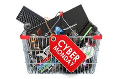 Cyber Monday concept. Computer device and accessories inside sho vector illustration