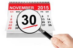 Cyber Monday Concept. 26 November 2015 calendar with magnifier Royalty Free Stock Image